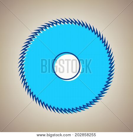 Saw sign. Vector. Sky blue icon with defected blue contour on beige background.