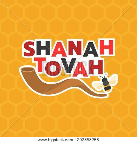 shanah tovah means a good year and shofar horn, bee on hexagon background