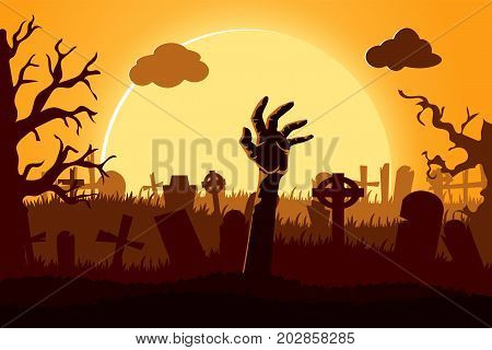 Happy halloween paper cut style. Concept of cemetery. Vector illustration.