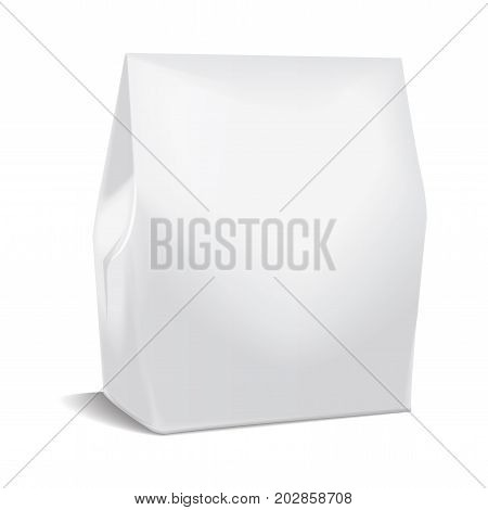 Realistic paper package, take away food bag mock up, gift template container.Blank white 3d model cardboard for your design