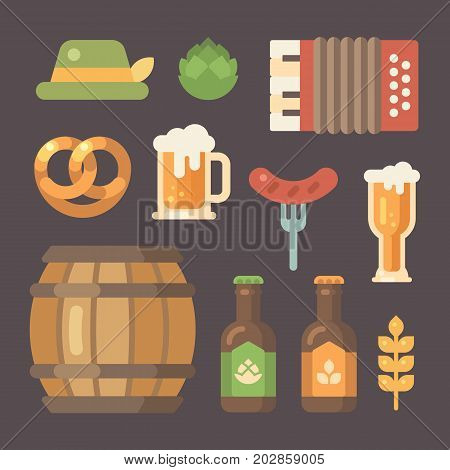 Set of flat Oktoberfest icons. Beer festival icons on dark background. Barrel accordion sausage on a fork beer mug beer bottle hop hat pretzel wheat