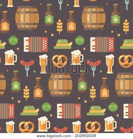 Oktoberfest flat icons pattern. Beer festival pattern on dark background. Barrel accordion sausage on a fork beer mug beer bottle hop hat pretzel wheat