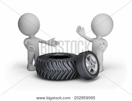 Repair and replacement of automobile tires. 3d image. White background.