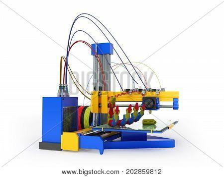 3D Printer Print Prosthesis 3D Render On White Background