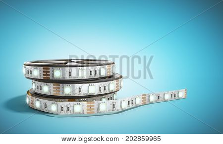 Diode Strip Led Lights Tape In Holder Close-up 3D Render On Blue