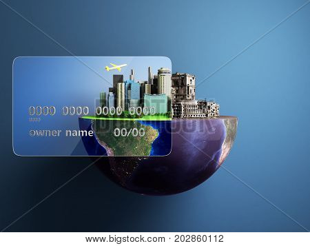 Concept Of New Opportunities With Credit Cards A New City In The Strength Of A Card A Ruined City Ou