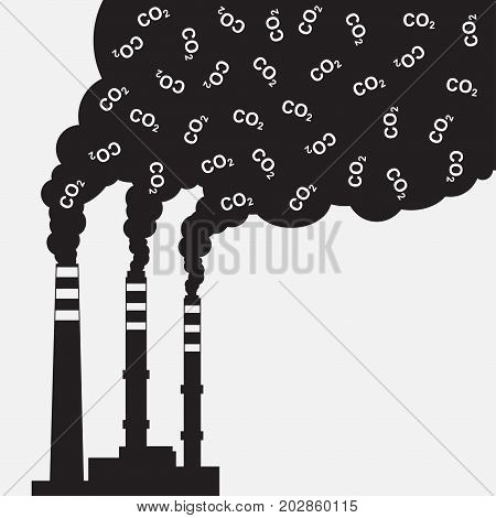 Pollution of environment. Factory silhouette with chimney polluting CO2 cloud smoke. Vector illustration