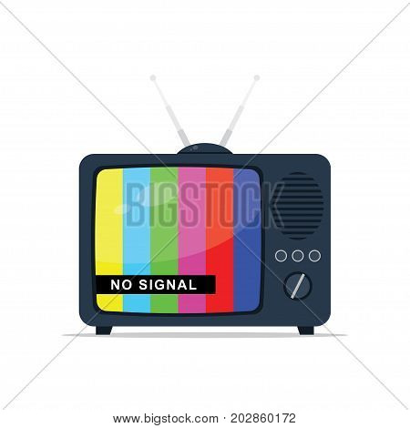 Retro tv with antenna test pattern with no signal message. Vector illustration