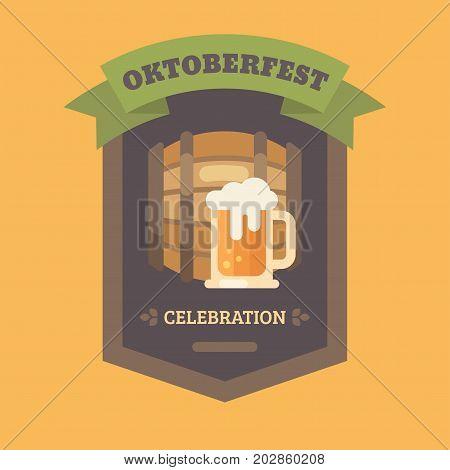 Oktoberfest beer festival flat illustration badge. Beer barrel and beer mug. Craft beer banner