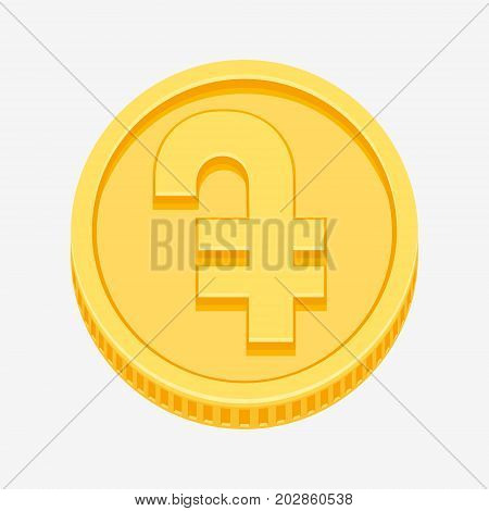 Armenian dram currency symbol on gold coin, money sign vector illustration isolated on white background