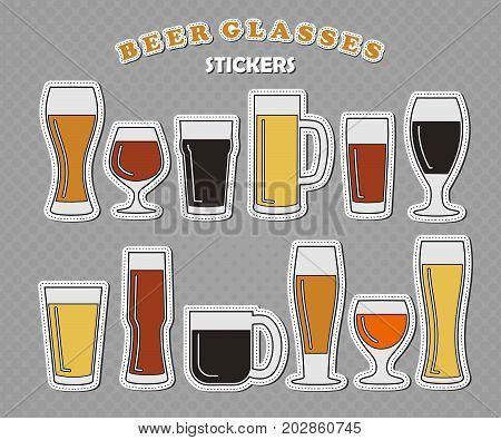 Set of twelve different beer glasses beer logo vector illustration