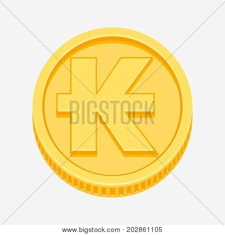 Lao kip currency symbol on gold coin, money sign vector illustration isolated on white background