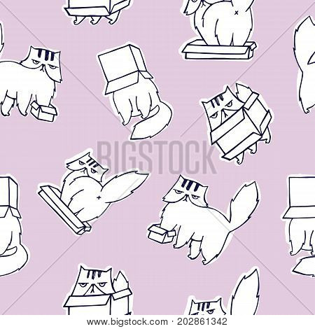 Funny seamless pattern with grumpy and melancholic cat playing with carton box on pink background. Cute hand drawn cartoon character. Vector illustration for backdrop, wrapping paper, fabric print