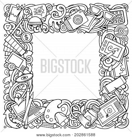Cartoon vector doodles Designer frame design. Line art detailed, with lots of objects illustration. All items are separate. Outline artistic funny border