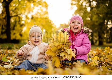 Joyous little girl and her brother in the autumn park