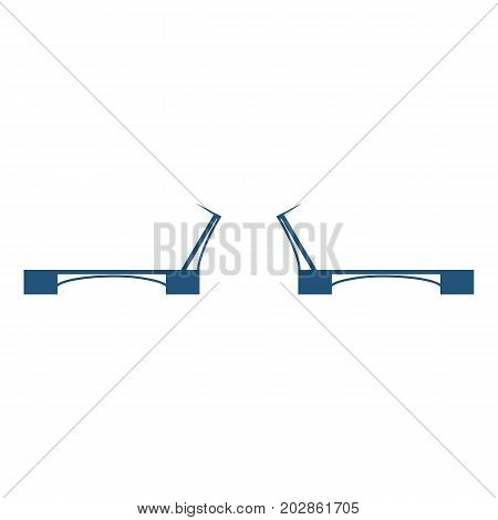 Moveable or movable bridge that moves to allow passage for boats or barges vector illustration icon isolated on white background. Slide-in construction across the river