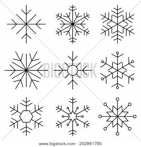 Set of Nine Snowflakes thin line flat design vector illustration. Snowflake icons. Snowflake Vectors. Snowflakes set.Vector illustration.
