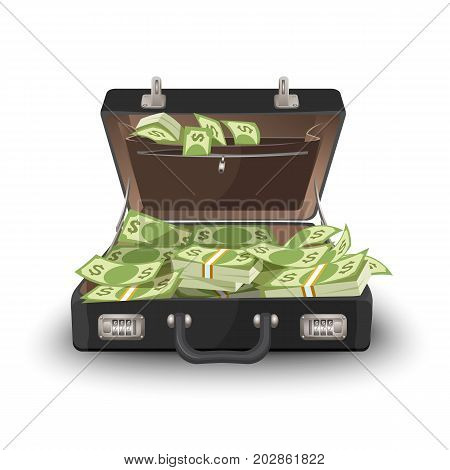 Suitcase staffed by dollar banknotes, leather case with cash. Open briefcase full of money vector illustration isolated on white.