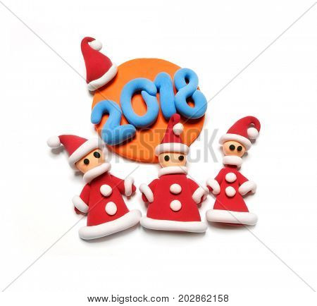 Santa's helpers made of plasticine