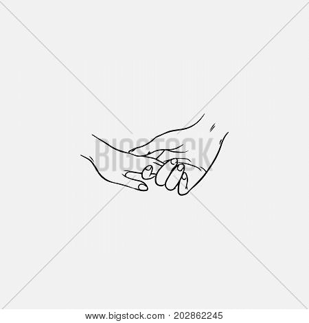 Drawing of holding hands isolated on white background. Symbol of love, dating, close relationship, intimacy and romance. Hand drawn black and white vector illustration