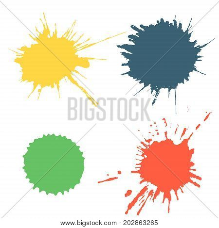 Vector Set Of Colorful Ink Splash, Blots And Brush Strokes, Isolated On The White Background. Series