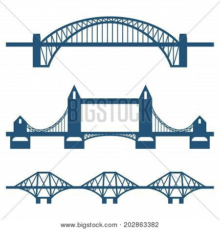 Set of flat bridge icons isolated on white background. Vector illustration of some of most famous structures used for crossing rivers, valleys or roads