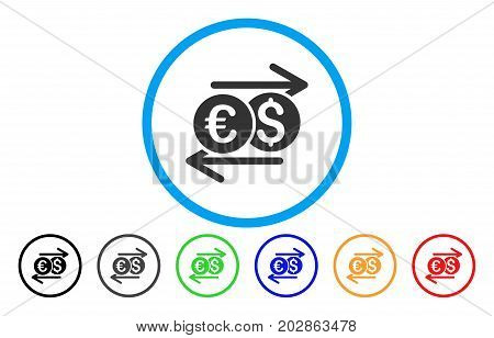 Currency Exchange rounded icon. Vector illustration style is a grey flat iconic currency exchange symbol inside a circle. Additional color variants are black, grey, green, blue, red, orange.