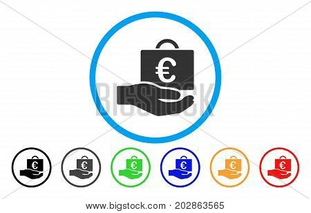 Euro Accounting Service rounded icon. Vector illustration style is a grey flat iconic euro accounting service symbol inside a circle. Additional color versions are black, grey, green, blue, red,