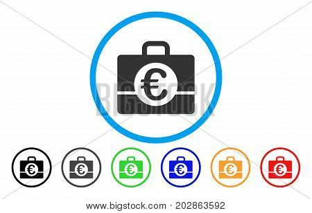 Euro Accounting rounded icon. Vector illustration style is a grey flat iconic euro accounting symbol inside a circle. Additional color variants are black, gray, green, blue, red, orange.