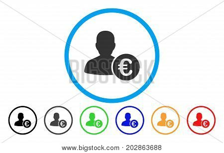 Euro Banker rounded icon. Vector illustration style is a gray flat iconic euro banker symbol inside a circle. Additional color versions are black, gray, green, blue, red, orange.