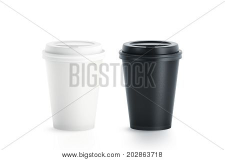 Blank black and white disposable paper cup with plastic lid mock up isolated 3d rendering. Empty polystyrene coffee drinking mug mockup front view. Clear plain tea take away package