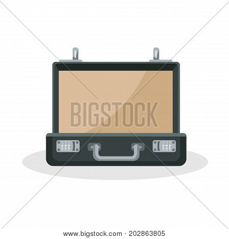 Empty square black briefcase with beige cloth and metal handle and lock vector illustration isolated on white background. Suitcase icon