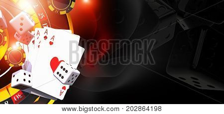 Games of Casino Banner Illustration with 3D Rendered Casino Elements Like Roulette Wheel Blackjack Cards and Dices. Right Side Copy Space.