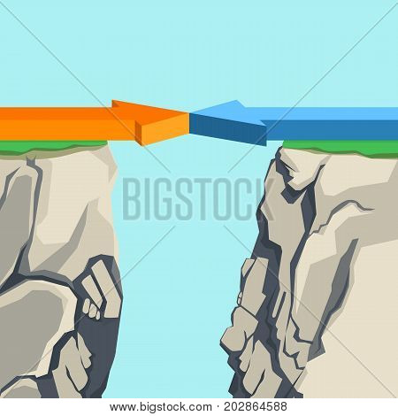 Orange and blue aligned horizontal arrows pointing to each other forming bridge over rocky abyss vector illustration on light blue background