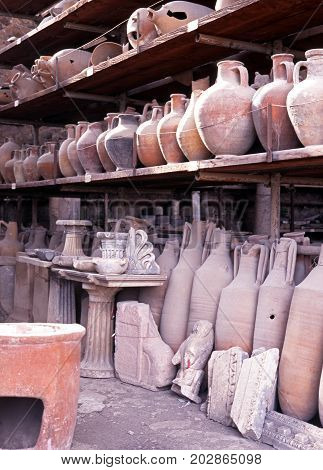 Pots in storage Pompeii Nr. Naples Campania Italy Europe.