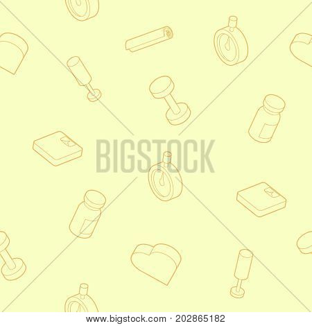 Gym outline isometric pattern. Vector illustration, EPS 10