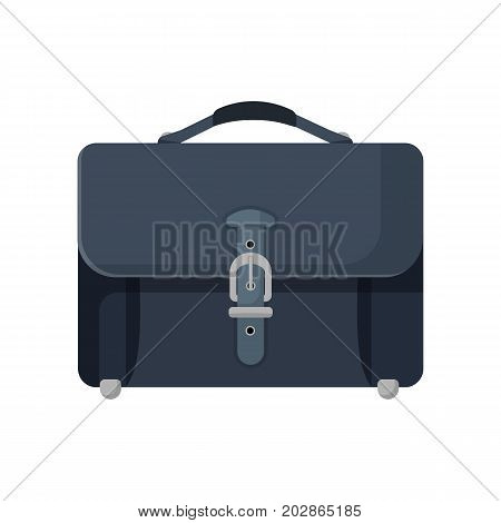 Close-up of dark blue leather briefcase isolated vector illustration on white background. Stylish male bag with handle and single silver buckle