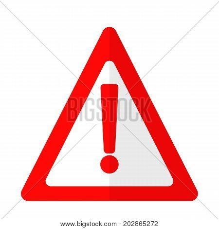 Exclamation danger attention sign flat icon, vector sign, colorful pictogram isolated on white. Symbol, logo illustration. Flat style design