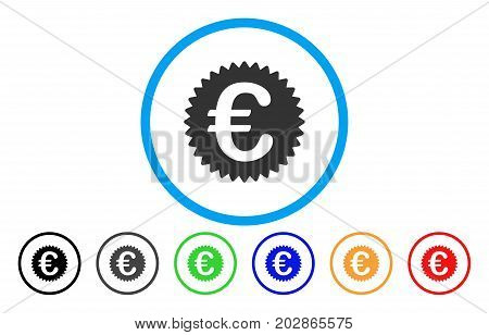 Euro Reward Seal rounded icon. Vector illustration style is a gray flat iconic euro reward seal symbol inside a circle. Additional color versions are black, gray, green, blue, red, orange.