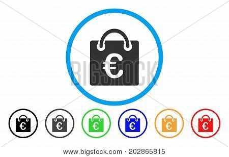 Euro Shopping Bag rounded icon. Vector illustration style is a grey flat iconic euro shopping bag symbol inside a circle. Additional color versions are black, gray, green, blue, red, orange.
