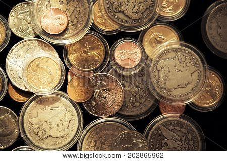 Precious American Dollars Collectible Coins Closeup. Coins Collection.