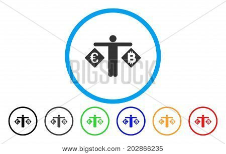 Person Compare Euro And Bitcoin rounded icon. Vector illustration style is a grey flat iconic person compare euro and bitcoin symbol inside a circle. Additional color versions are black, gray, green,
