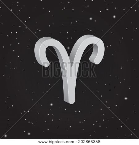 Aries zodiac symbol 3D white zodiac icon on the background of black starry sky
