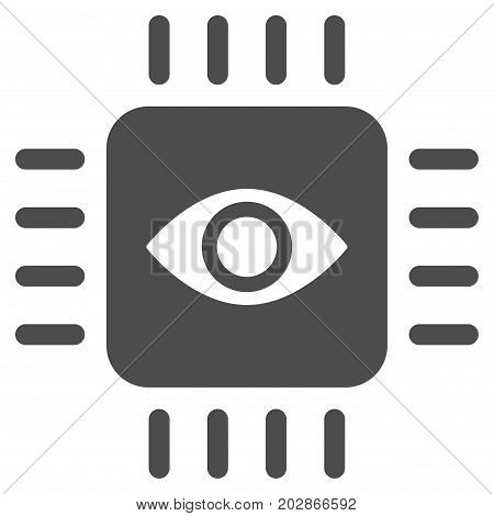 Bionic Eye Processor vector icon. Style is flat graphic gray symbol.