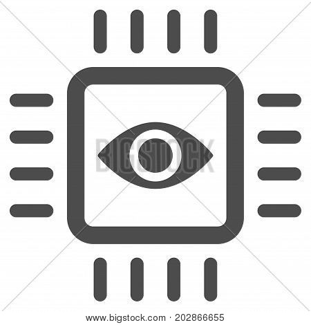 Bionic Vision Chip vector pictograph. Style is flat graphic grey symbol.