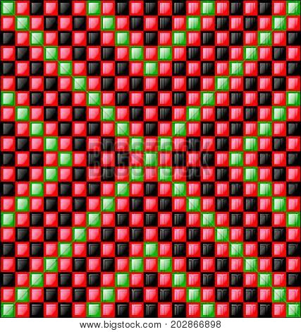 abstract colored background image consisting of lines with red, green and black glossy blocks