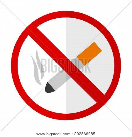 No smoking flat icon, vector sign, colorful pictogram isolated on white. Symbol, logo illustration. Flat style design