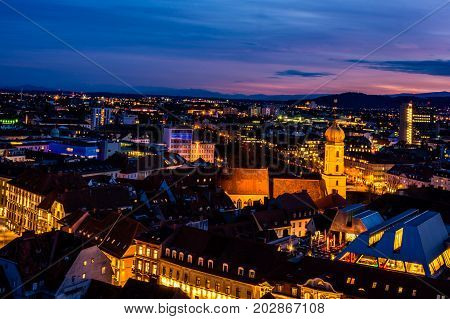 Night look over Graz in the blue hour