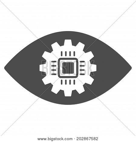 Cyborg Eye Lens vector icon. Style is flat graphic gray symbol.