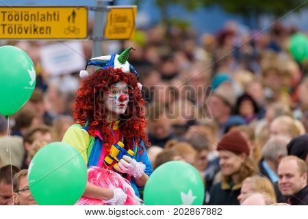 HELSINKI, FINLAND - SEPTEMBER 24: Members of the Loldiers of Odin clown group at the Peli poikki - Rikotaan hiljaisuus - protest rally against racism and right wing extremist violence September 24, 2016 in Helsinki, Finland.